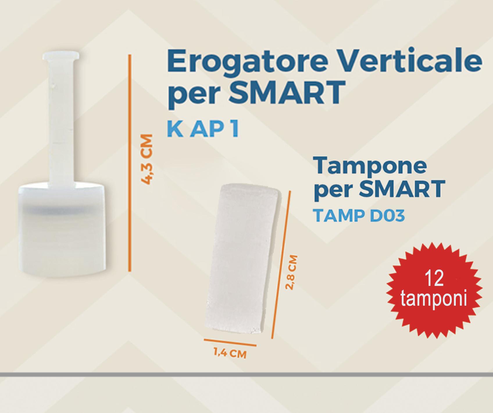 Brasotek - codice K AP1 + 4 x TAMP D03 - Kit ricambi composto da 1 erogatore verticale grande + 12 tamponi SMART (per flacone 20 ml)