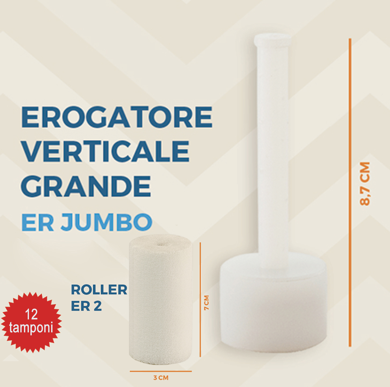 Brasotek - codice ER JUMBO + 12 x ROLLER ER2 JUMBO - Kit ricambi composto da 1 erogatore verticale grande + 12 tamponi grandi (per flacone 40 ml)