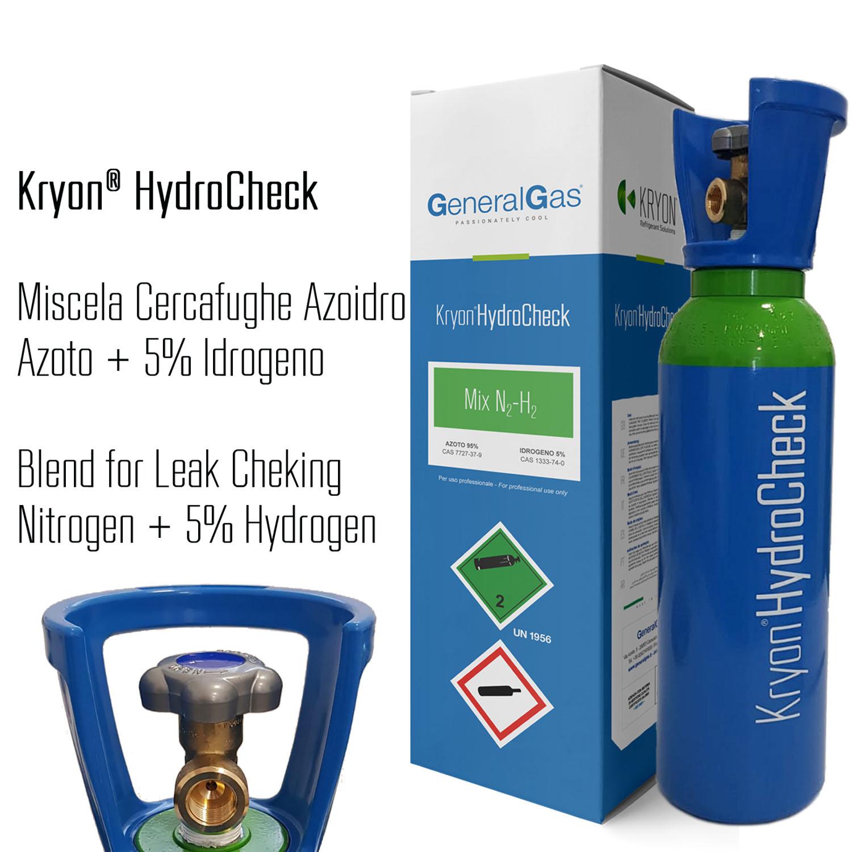 Kryon® HydroCheck - bombola azoto 5% idrogeno (miscela cercafughe azoidro) capacità 5 litri 200 bar - caricata con 1 mc di miscela, completa di valvola